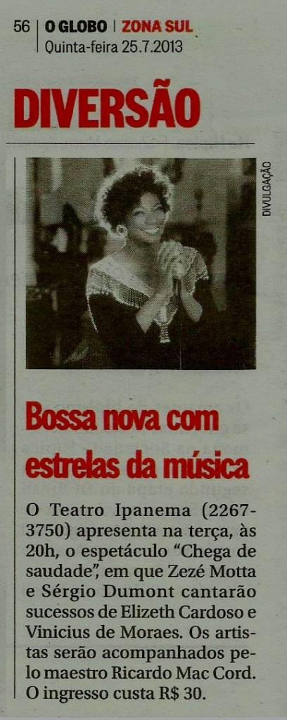 Zezé Motta Jornal O Globo