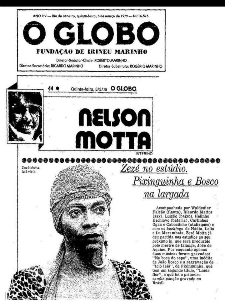 Zezé Motta O Globo, 08 de março de 1979, por Nelson motta. #Arquivos