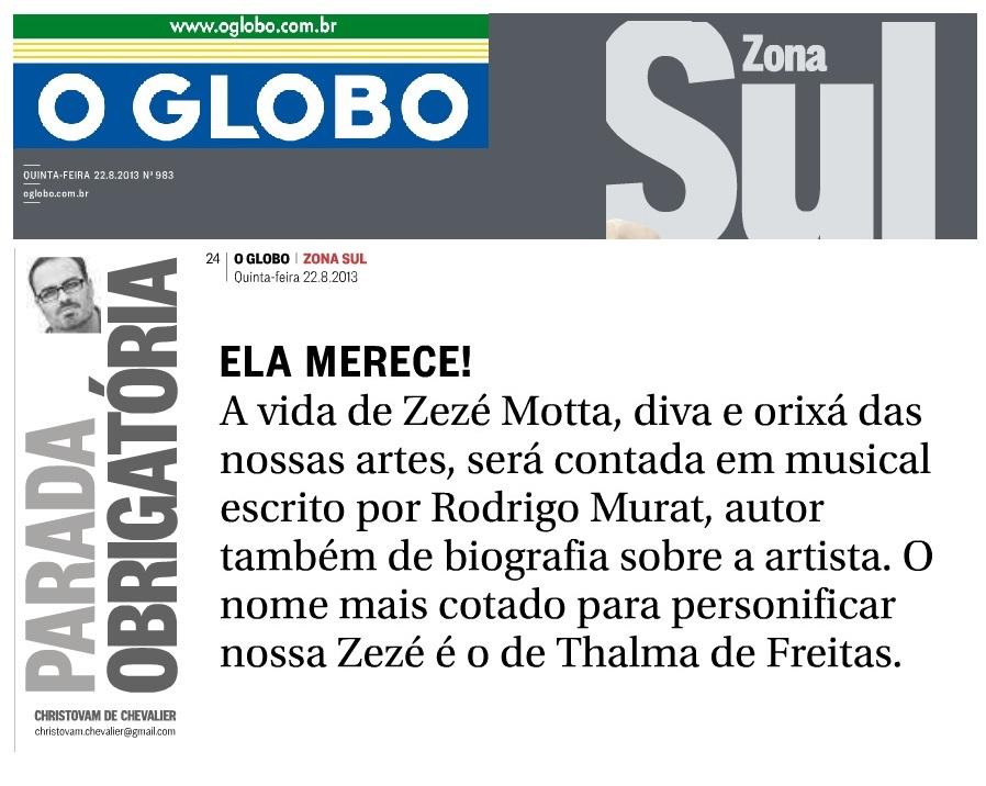 Parada Obrigatório - O Globo - Caderno Zona Sul - 23.08.2013