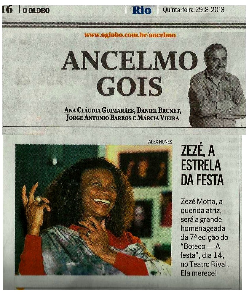 Zezé Motta no Ancelmo Gois, O Globo