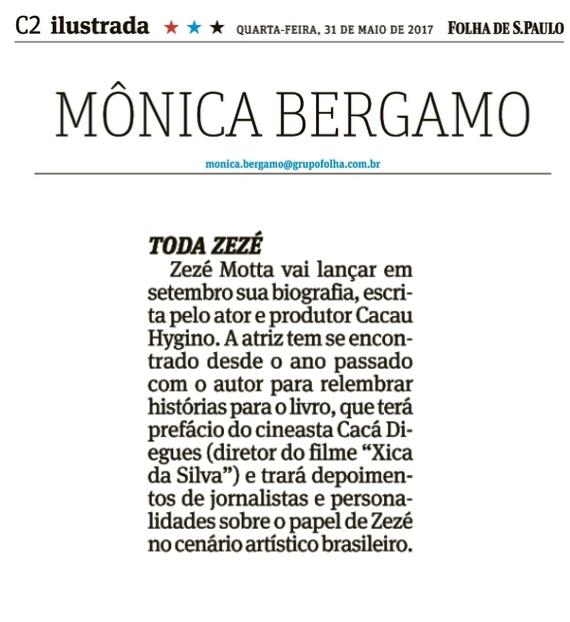 Biografia de Zezé Motta na Mônica Bergamo - Folha de São Paulo