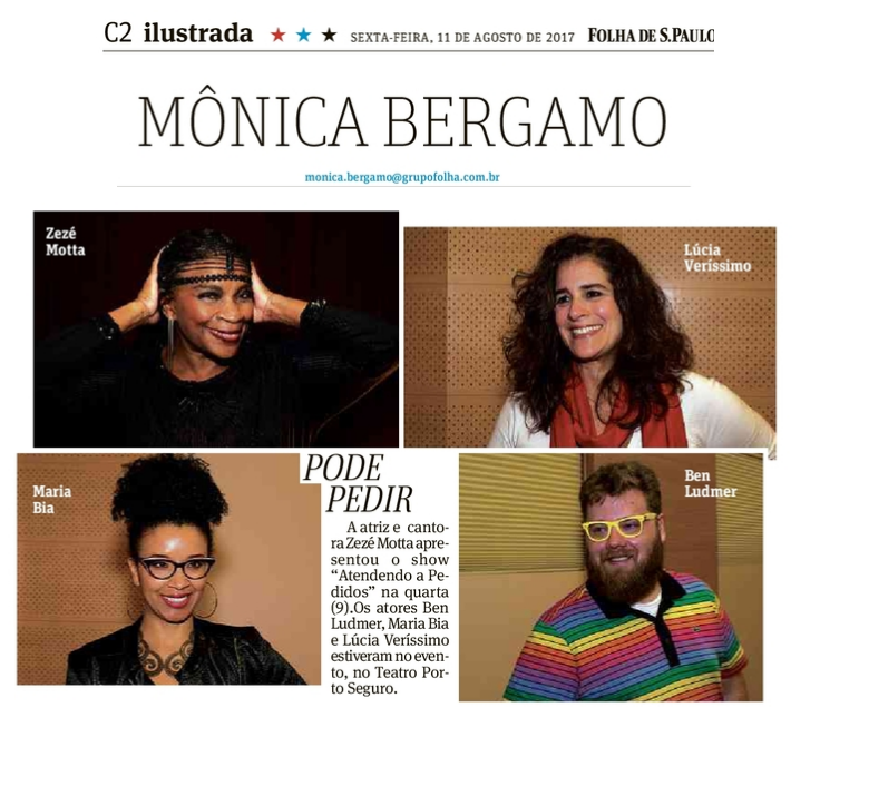 Coluna Mônica Bergamo, Zezé Motta