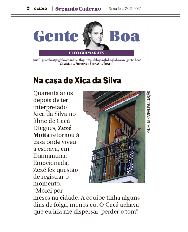 Coluna Gente Boa | O Globo | Zezé Motta