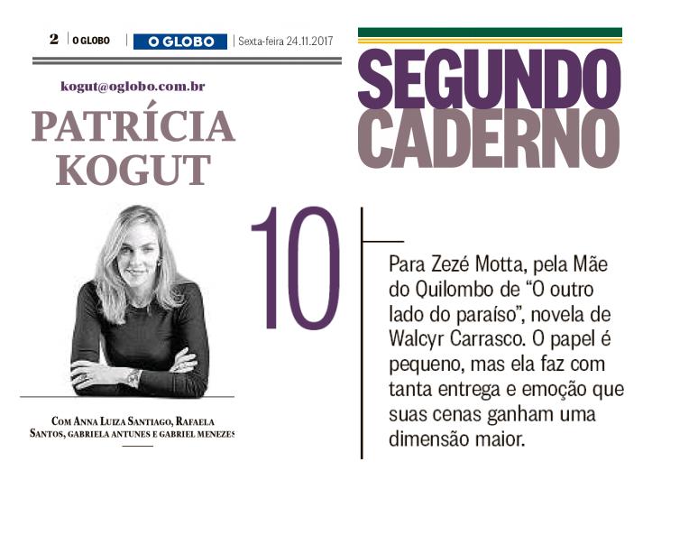 Zezé Motta coluna Patricia Kogut, O Globo