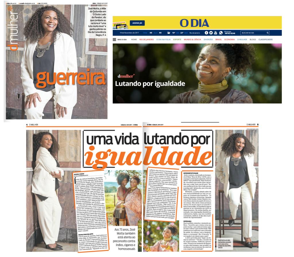 Zezé Motta no Jornal O DIA