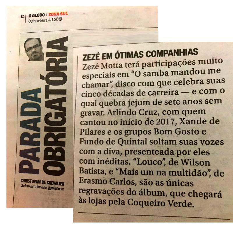 O Samba Mandou me Chamar, novo disco de Zezé Motta