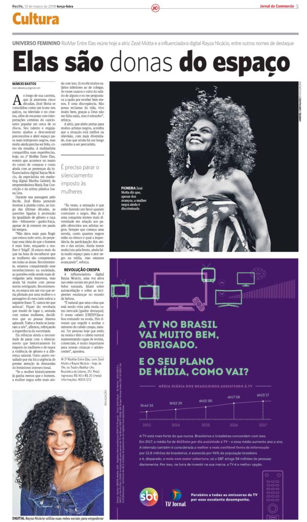 jornal do comercio, Zezé Motta, Recife