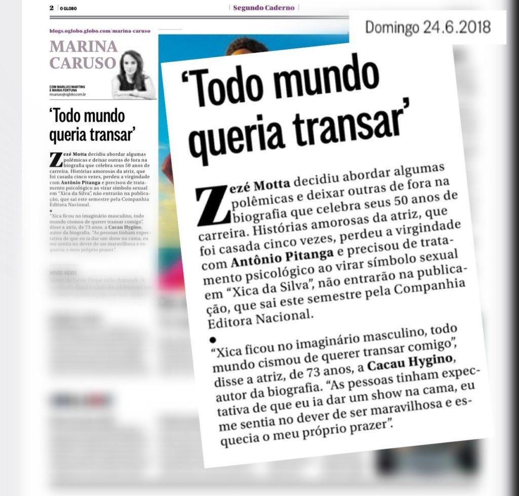 Zezé Motta na coluna Marina Caruso - O Globo