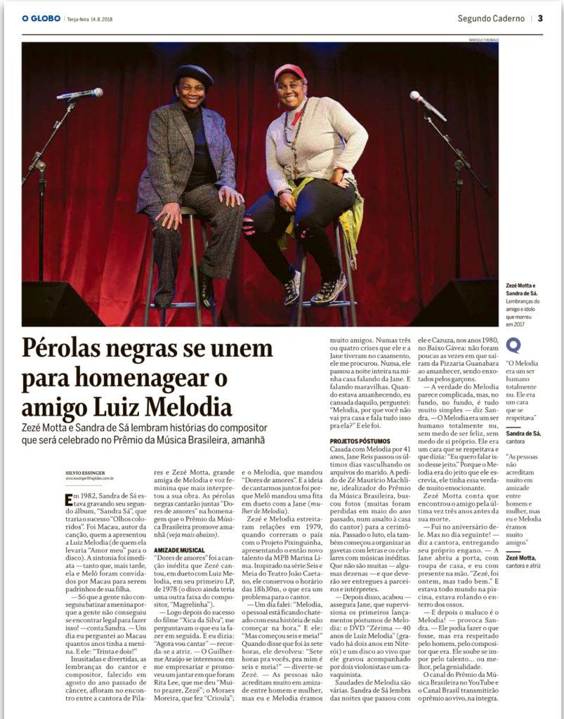 Zezé Motta e Sandra de Sá - Segundo Caderno - O Globo