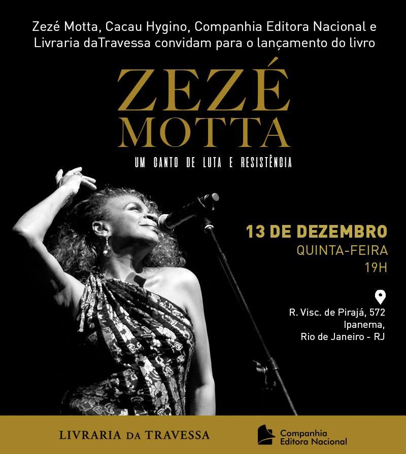 Convite lançamento Biografia - Zezé Motta, um Canto de Luta e Resistência