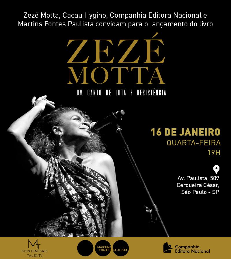 Convite lançamento biografia Zezé Motta, Livraria Martins Fontes, São Paulo
