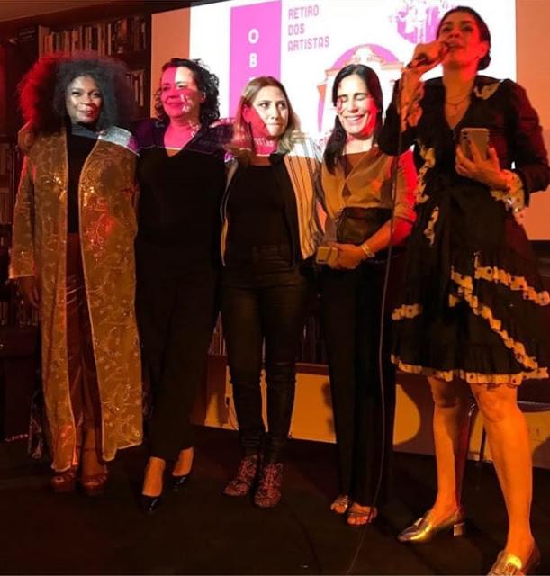 Zezé Motta, Ana Beatriz Nogueira, Cida Cabral, Gloria Pires, e Paula Lavigne | Foto: Thereza Eugênia/Reprodução