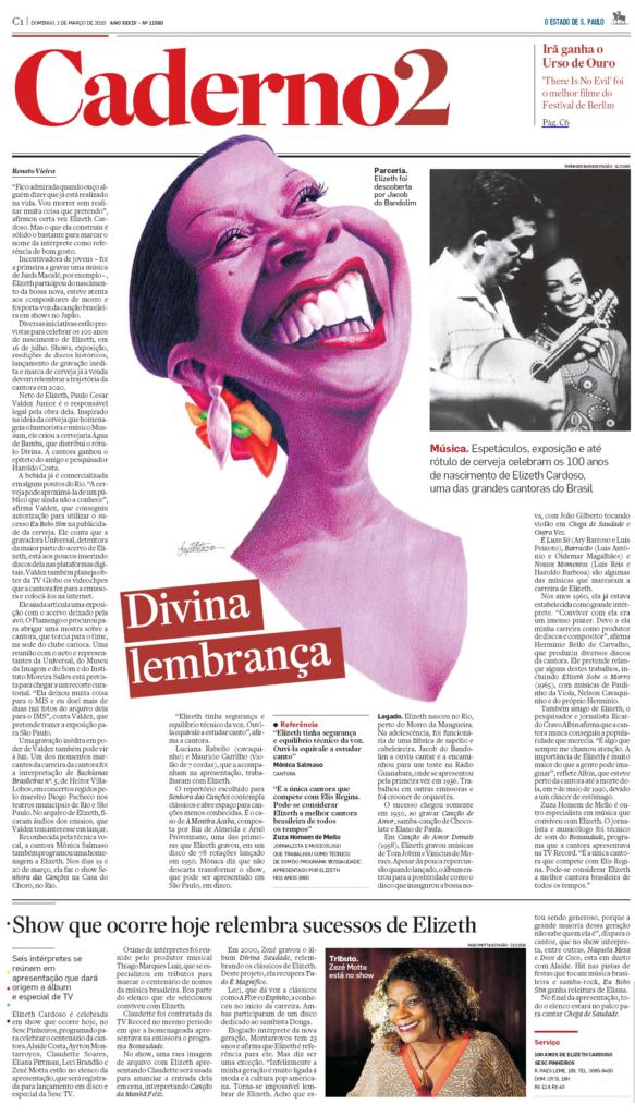 Zezé Motta no Caderno 2 do Estadão - Reportagem sobre o show de comemoração ao centenário de Elizeth Cardoso no Sesc Pinheiros