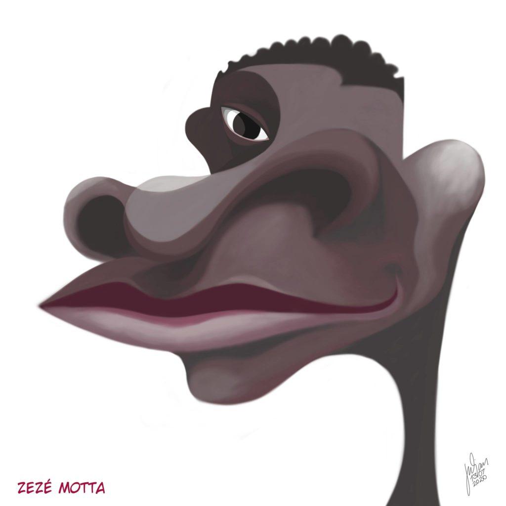 Caricatura de Zezé Motta por Julian Carlo Fagotti