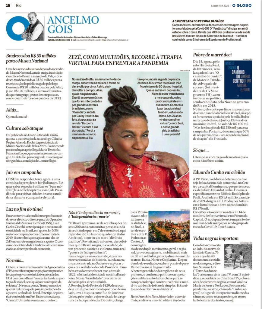 Zezé Motta. Coluna Ancelmo Gois. O Globo. 05.09.2020