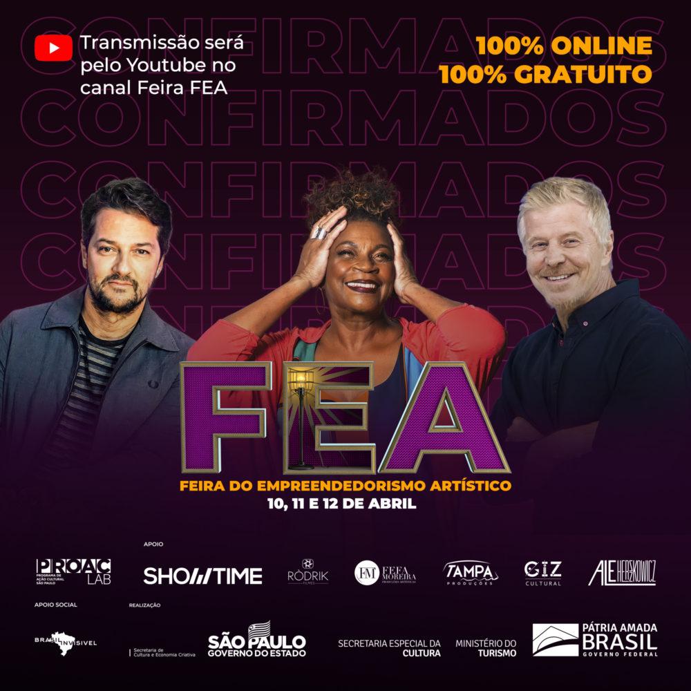 Marcelo Serrado, Zezé Motta e Miguel Falabella no FEA